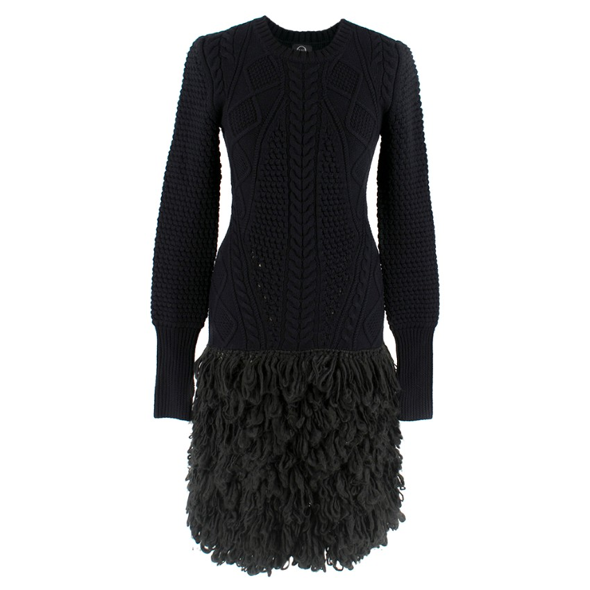 McQ by Alexander McQueen Black Wool Cable Knit Fringed Dress