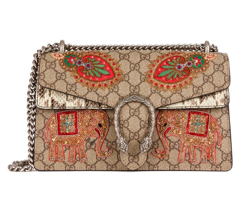 Gucci Monogram Supreme Emnroidered Dionysus Bag
