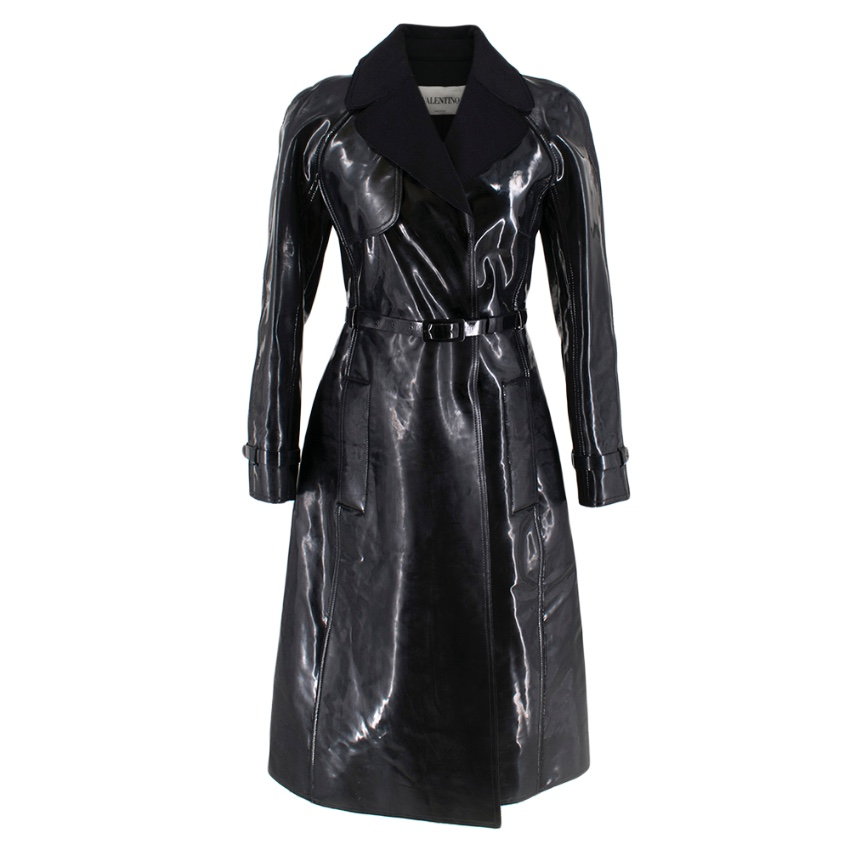 Valentino Black Vinyl Trench Coat