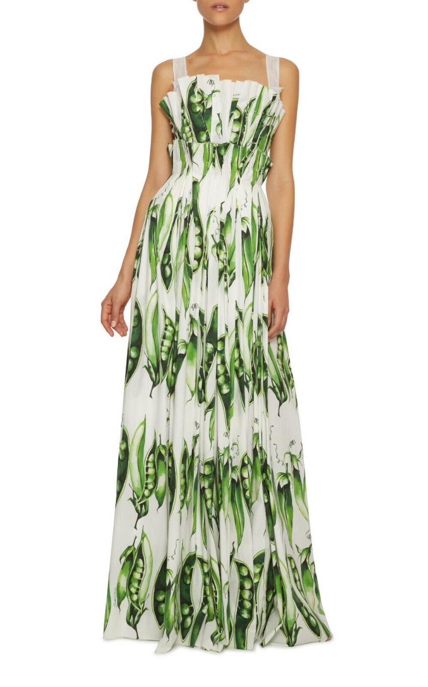 Dolce & Gabbana Peas Garden Print Runway Gown