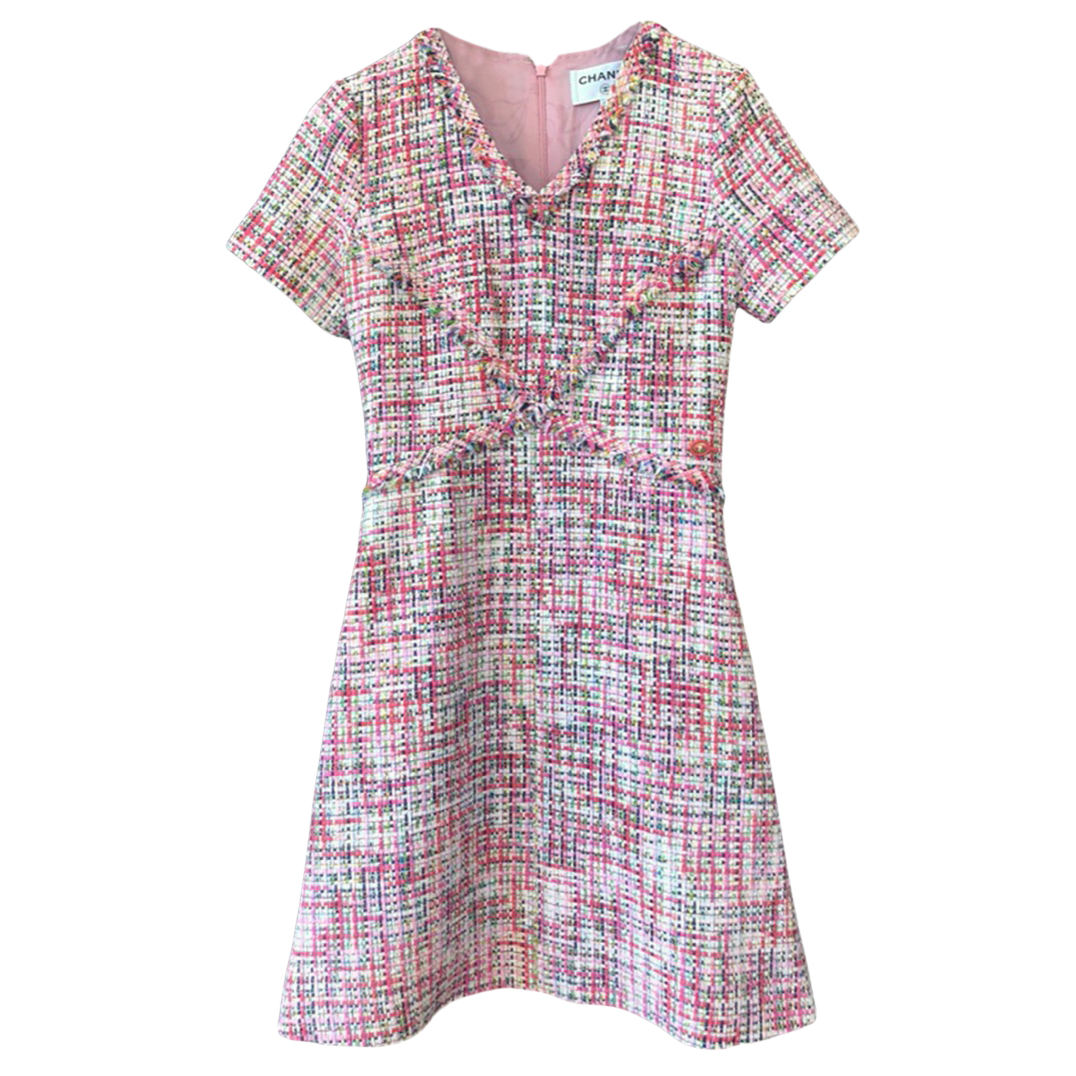 Chanel Pink Tweed Mini Dress