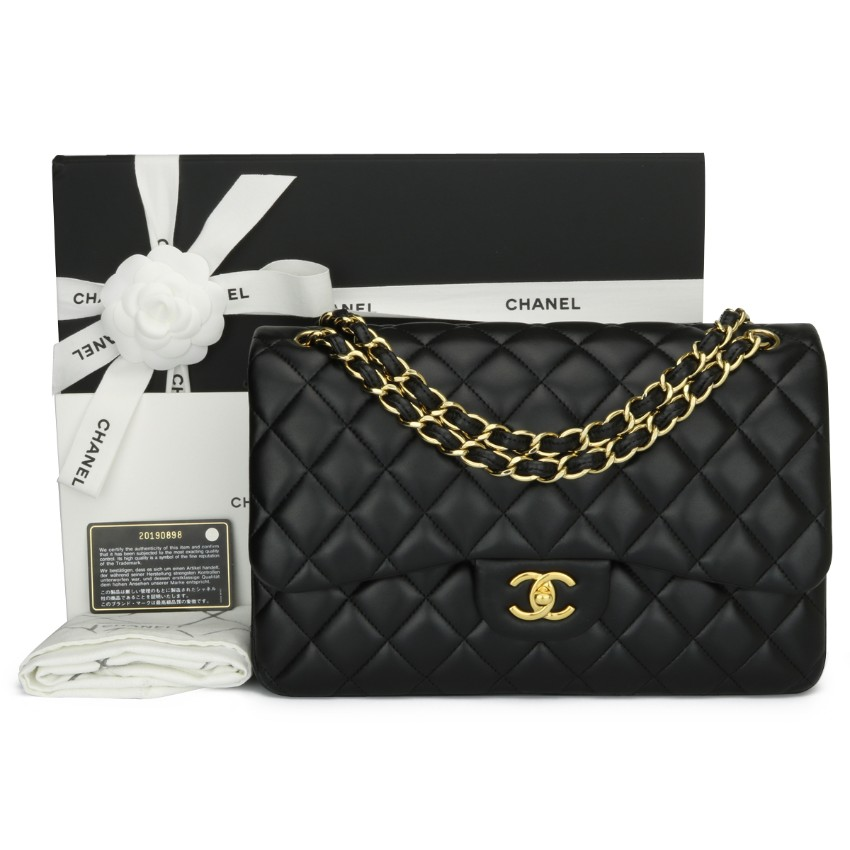 Chanel Black Lambskin Jumbo Double Flapbag