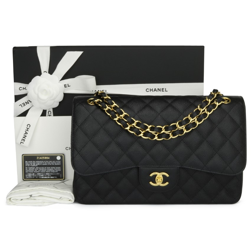 CHANEL Black Caviar Classic Double Flap Jumbo Bag