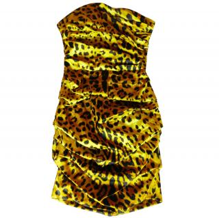 Dolce & Gabbana Yellow Leopard Print Strapless Dress