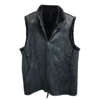 Burberry Black Suede Shearling Gilet