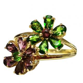 Bespoke Tsavorite & Rhodolite Twin Flower Ring