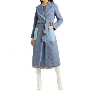 Fendi Runway Wool Blue Check Coat