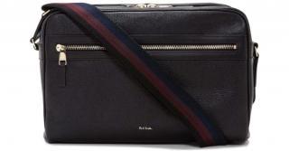 Paul Smith men's black leather crossbody bag with zipper