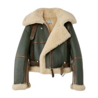 Acne Studios Dark Hunter Green / Off-White Shearling Jacket