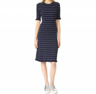 Victoria Victoria Beckham Navy Flounce Trim Dress