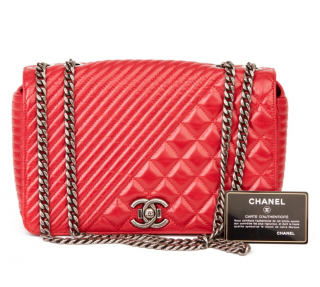 Chanel Red Leather Coco Boy Flap