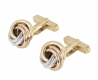 Cartier White, Yellow & Rose Gold Cufflinks