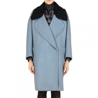 Gucci Blue Wool Coat with Black Astrakhan Collar