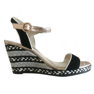Sophia Webster Embroidered Wedge Metallic Sandals