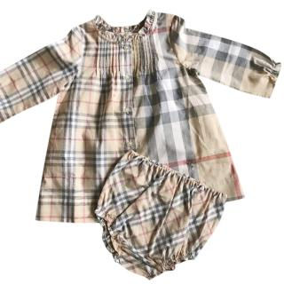 Buberry Girl's House Check Cotton Dress & Bloomers in Pale Stone