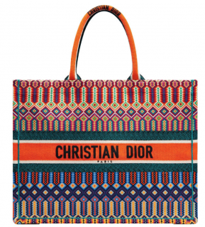 Dior Multi-colored Logo Embroidered Canvas Book Tote