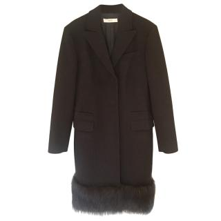 Prada black wool coat with fox fur trim