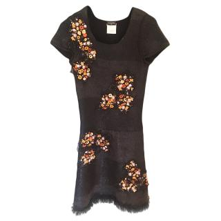 Chanel Cashmere, Silk & Wool Embellished Fitted Dress