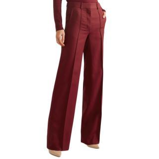 Victoria Beckham Grain de poudre wool wide-leg pants