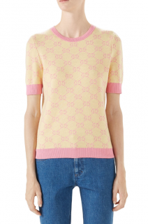 Gucci Yellow & peach fine wool GG jacquard sweater