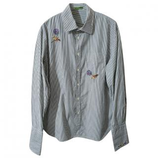 Paul Smith Striped Floral Embroidered Shirt