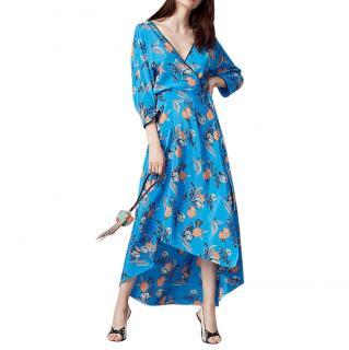 Diane von Furstenberg Blue Kimono Floral Wrap Midi Dress