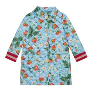 Gucci Kid's light blue strawberry print quilted coat