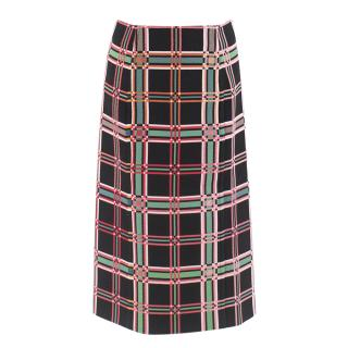 Fendi Check Motif Pencil Skirt
