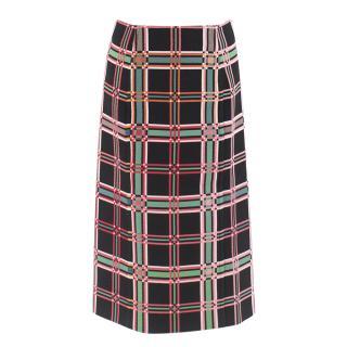 Fendi Check Motif Pencil Skirt