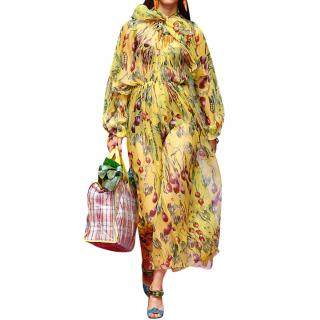 Dolce & Gabbana Yellow Vegetable Print Silk Chiffon Jumpsuit