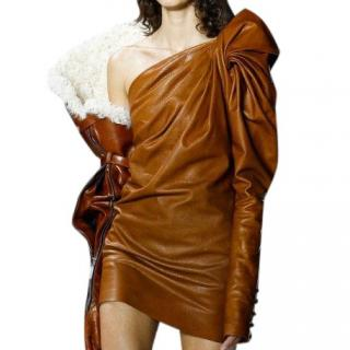 Saint Laurent tan leather runway mini dress