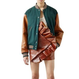 Saint Laurent Virgin Wool & Leather Varsity jacket