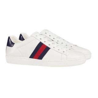 Gucci Blue Web Stripe Ace Sneakers