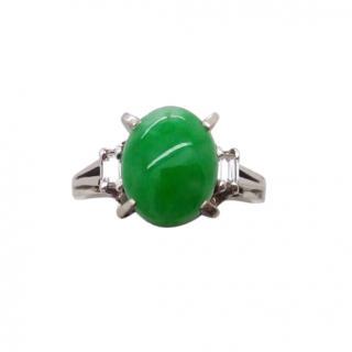 Bespoke Vintage Platinum Set Jade & Diamond Ring