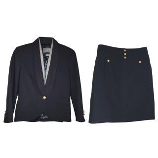 McQ by Alexander McQueen Navy & Cream Skirt & Jacket