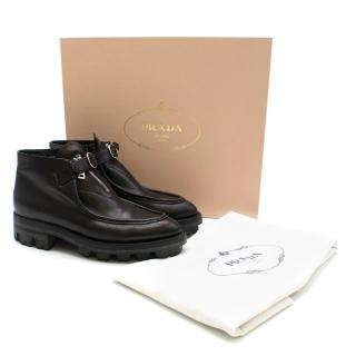 Prada Black Buckle Front Seamed Ankle Boots