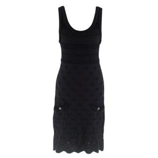 Chanel Black Stretch Knit Sleeveless Dress