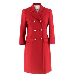 Gucci Red Wool Double Breasted Coat With Pearl Buttons