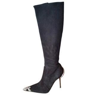 Gianmarco Lorenzi Suede Crystal Embellished Boots