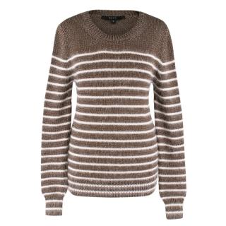 Gucci striped angora and silk blend with silver flecks sweater