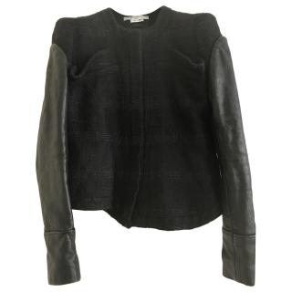 Givenchy Black Tweed Jacket W/ Leather Sleeves