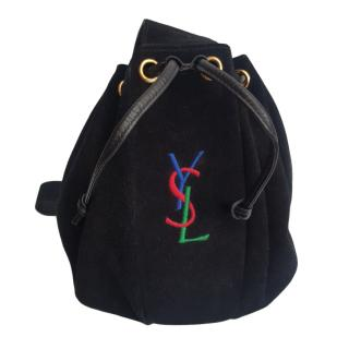YVES SAINT LAURENT Black Suede Bucket Bag