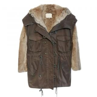 3.1 Phillip Lim Brown Parka With Rabbit Fur