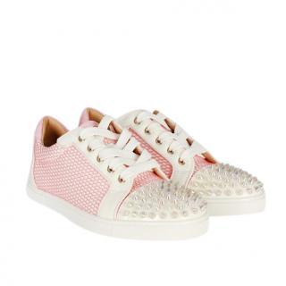 Christian Louboutin White & Pink Gondolita Spikes Sneakers