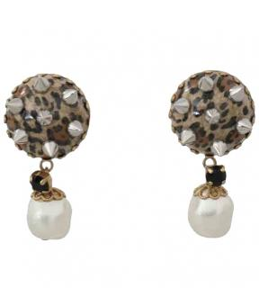 Dolce & Gabbana Leopard Print Studded Drop Earrings