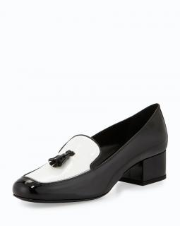 Saint Laurent black and white patent Babies loafers