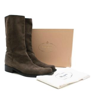 Prada mid height brown/grey suede boots