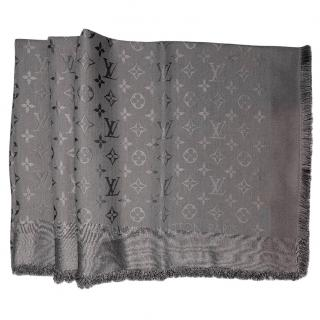 Louis Vuitton Charcoal Grey Silk and wool monogram shawl