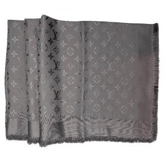 Louis Vuitton Charcoal Grey Silk and wool monogram shawl
