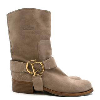 Christian Dior Mid-high beige suede boots
